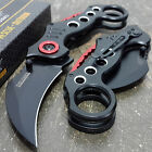 BLACK KARAMBIT ASSISTED POCKET KNIFE Tactical Open Assist Folding Claw Blade NEW