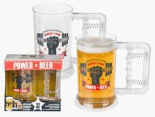 POWER BEER NOVELTY PLASTIC BEER GLASS TANKARD WITH BUILT IN HAND EXERCISER