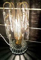 VTG  REGENCY ART DECO CRYSTAL GLASS WATERFALL TABLE LAMP 18 CRYSTAL BOUDOIR
