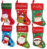 LARGE Personalised Christmas Crystal Santa Snowman Reindeer Penguin Stockings