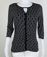 Vince Camuto Women Size S Black White 3/4 Sleeves Blouse Top Shirt. B15