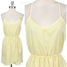 Spaghetti Strap Open T Back SUN BEACH Dress Solid Plain Stretch Waistband S M L