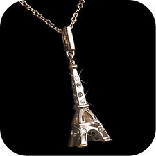 18k rose gold gp made with SWAROVSKI crystal Eiffel Tower pendant necklace