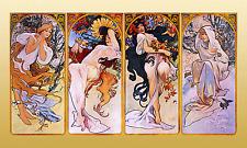 "Alphonse (Alfons) Mucha- Four Seasons - Art Nouveau -20""x40"" CANVAS ART"