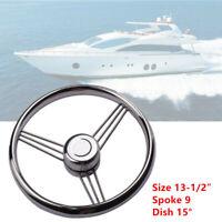 13-1/2'' 9 Spoke Stainless Steel Marine Boat Yacht Steering Wheel Control 15°