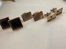 Set Of 3 Vintage Gold Tone  Cufflinks