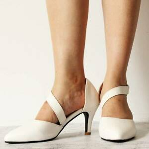 Women's Kitten Heel Pointed Sandal Ankle Strap Buckle Pumps Shoes Party Clubwear