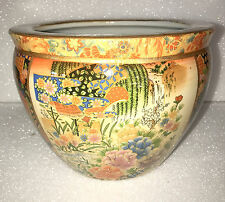 "14"" Oriental Ornate Flower Floral Themed Fish Bowl Jardiniere Planter Plant Pot"