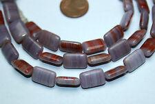 Strang 64 cm Flieder farbende rot marmorierte tabelcut beads aus Böhmen