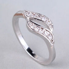 18k white gold filled white sapphire lady Ring Sz8/Q Unique fashion Ring SzJ-SzR