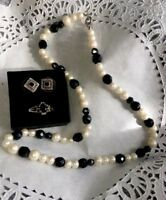 VINTAGE GORGEOUS STERLING SILVER BLACK ONYX RING EARRINGS NECKLACE W/PEARLS!