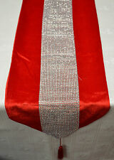 "Table Runner Diamante Sequin 70""x12"" Silver Red or Black"
