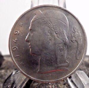 CIRCULATED 1949 5 FRANCS BELGIUM COIN (81617)1.....FREE DOMESTIC SHIPPING !!!!!