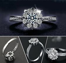 Solid 18K White Gold Plated Snowflake Cubic Zirconia Women Wedding Ring Size I-R
