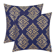 2Pcs Navy Blue Gold Cushions Cover Pillow Shell Damask Floral Home Decor 45x45cm