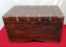 Antique Wooden Treasure Jewelry Cash Box Brass Traditional India Vintage Storage