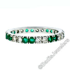 14K White Gold 1.40ctw Round Shared Prong Diamond & Emerald Eternity Band Ring