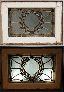 Small Antique c1900 Wreath Jeweled Stained Leaded Glass Architectural Window