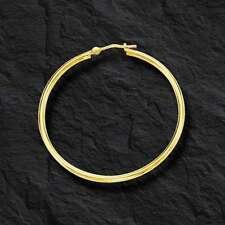 14k Yellow Gold 2mm x 40mm Round Shiny Lite Tube Hoop Earrings