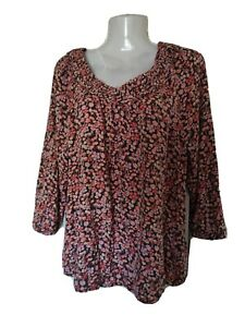 Pretty FAT FACE BLOUSE PINK FLOWERS ON A BLACK BACK GROUND SIZE 14/16