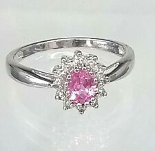 Fabulous 9ct White gold Hallmarked Genuine Pink Sapphire & Diamond Cluster ring