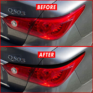 FOR 14-21  Infiniti Q50 Q50s Tail Light Eyelid GLOSS BLACK Precut Vinyl Overlays
