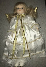 Porcelain Angel Doll, blonde Hair, Gray Eyes, 16 Inches tall