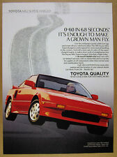1989 Toyota MR2 Supercharged red car color photo vintage print Ad