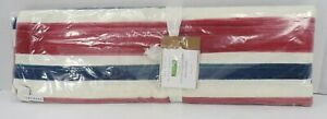 """Pottery Barn Americana Watercolor Table Runner 18x 108"""" Red Blue #9272"""