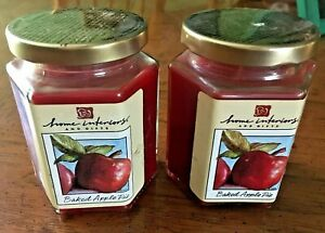 Home Interiors And Gifts Set 2 - 7.5 Oz Red Baked Apple Pie Jar Scented Candles
