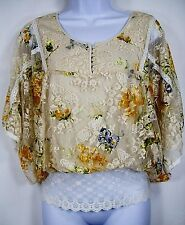 Free People Womens Bohemian Batwing Sleeve Top Ivory Lace Floral Print Size S