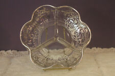 CLEAR GLASS 3 PART DIVIDED RELISH DISH WITH SILVER OVERLAY