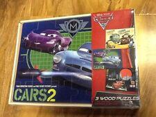 Disney Pixar Cars 2-Jeu de BOIS 3 PUZZLES, Entièrement Neuf dans sa boîte
