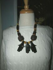 Necklace With Carved Hands Stunning Boho Ethnic Large Bead