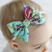 Bandeau Rétro pour Bébé Filles Floral Headband Nœud d'Arc Élastique Turban