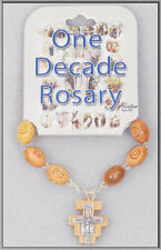 """San Damiano One Decade Wood Rosary 4"""" in Length"""