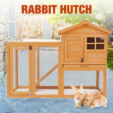 """56"""" Rabbit House Hutch Chicken Coop Bunny Small Animal Cage with Tray Run Wooden"""
