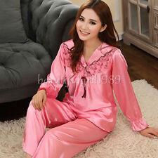 NEW Womens Silk Satin Pajamas Set Sleepwear&Robes Nightdress Nightgown P055 L,XL