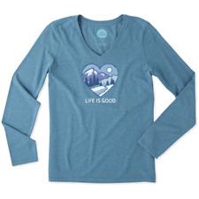 Life is Good Women's Long Sleeve Cool Vee Winter Heart Scene on Sea Blue-XL