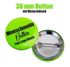 10x Button 38 mm mit Wunschmotiv - Buttons drucken - Logo - Foto - Text