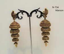 Indian Bollywood Gold  Plated Earring Jumka Jumki Long Traditional Wedding women