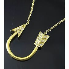Arrow Chain Necklace 18K Gold Plated Micro Paved Cubic Zirconia UK