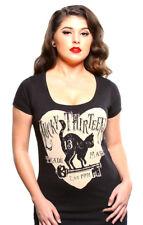 "Lucky 13 ""Prowl"" Scoop Neck Black Cat T-Shirt Rockabilly Pinup"