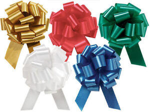 """25 PULL BOWS 5 1/2"""" Christmas *Shimmery Satin* RED GOLD, GREEN, WHITE & BLUE"""