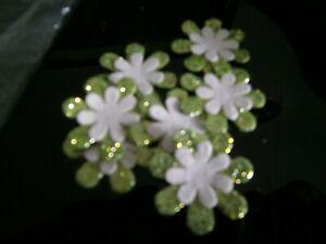 "7 x 1"" Glitter/Plain layered flower embellishments-Green/White-New***"