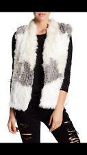NWT LOVE TOKEN Genuine Rabbit Fur Vest M Ivory Combo