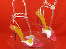 NEW CHARLES DAVID MULTICOLOR LEATHER ANKLE STRAPS HEEL SANDALS 8 SPAIN