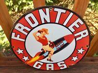 "Vintage Frontier Gasoline Heavy Porcelain Sign 12"" Gas & Oil Sign"