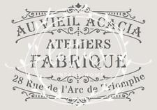 A4 Stencil AU VIEIL ACACIA Fabric Furniture Vintage Shabby Chic French 190 MYLAR