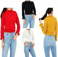 Womens Knitted Round Neck Ruffle Frill Hem Jumper Ladies Long Sleeve Sweater Top
